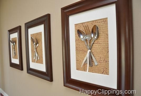 Cuadros para cocina o comedor con cubiertos enmarcados y for Cuadros para cocina comedor