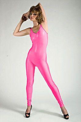 615d0cd183642 Nylon Spandex Unitard Bodysuit Leotard Jumpsuit Catsuit Neon Hot Pink Satin  Lycra Leggings, Spandex Catsuit