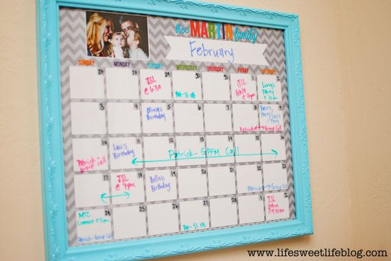 Dry Erase Custom Calendar. Print it 16x20 at Costco and put it in a frame and then you can write on it with dry-erase markers! I would print out two and always have two months on hand. Perfect for a busy family!