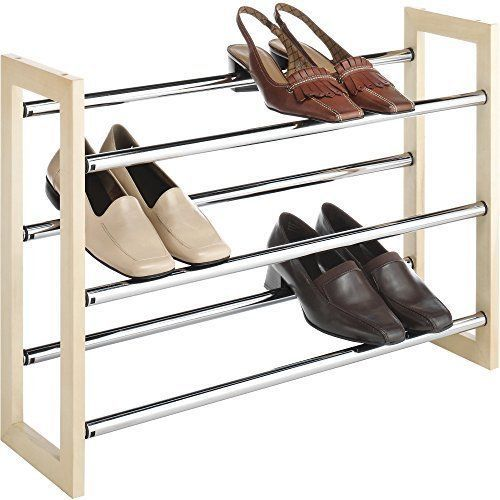 Shoes Rack Shelf Organiser Storage Durable Wood Chrome Stacking Sneaker Boots #ShoesRackShelfOrganiserWoodChromeStacking