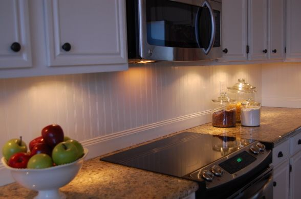 self-installed beadboard backsplash and saved them$800 vs. having tile installed. It cost $35 (with paint $50). :), Kitchens Design