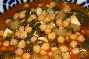 Garbanzos con espinacas, colinabo y alga kombu