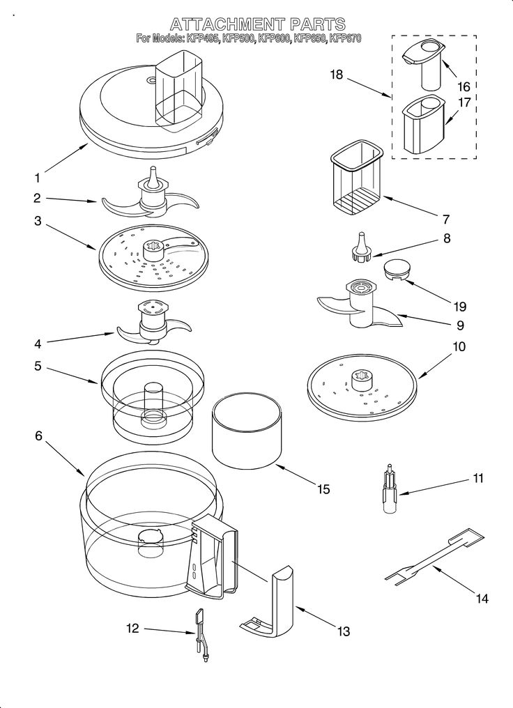 Kitchenaid Food Processor Attachment Parts Model
