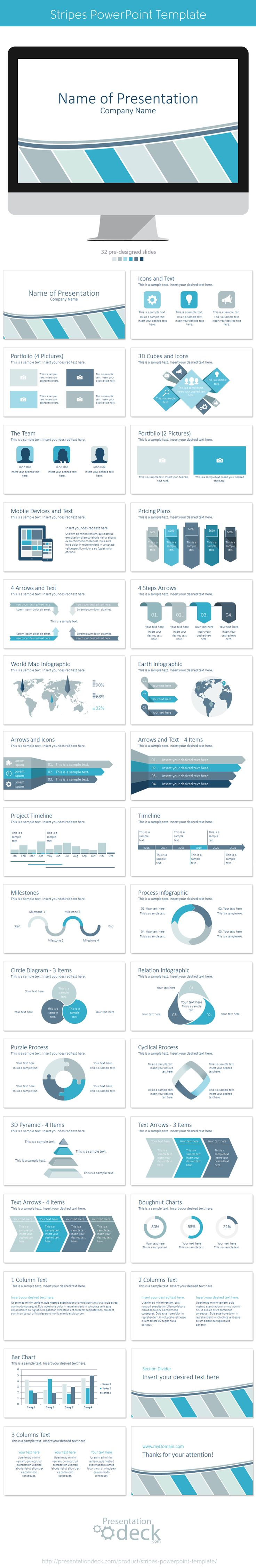 17 best images about abstract powerpoint templates stripes powerpoint template 32 pre designed slides powerpoint presentation