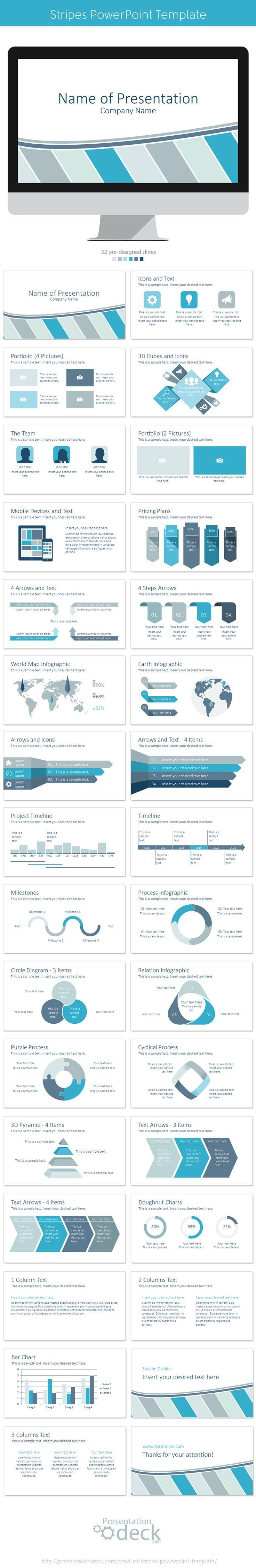 Stripes PowerPoint Template, 32 pre-designed slides. #powerpoint #presentation