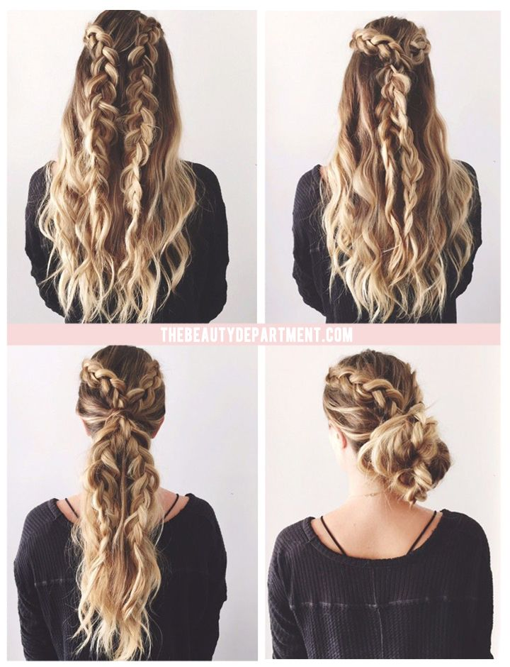 2 BRAIDS, 3 WAYS. Simple Hairstyles For Long HairThick ...