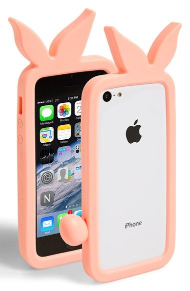 How cute.... A bunny phone cover. MARC BY MARC JACOBS 'Katie' iPhone 5 & 5s Bumper #Nordstrom