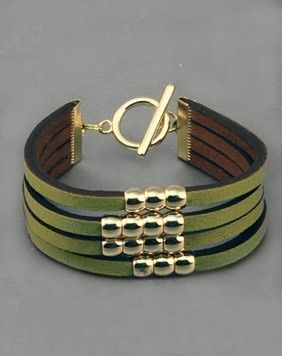 cool Lime Leather Bracelet This great looking and definitely unique bracelet combines...
