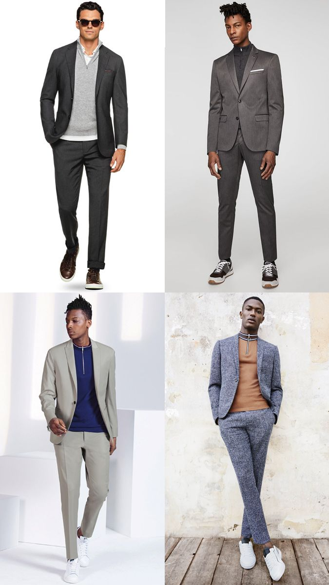 77ceb1b81971 How to Wear a Suit with a Track Top or Half-Zip Sweater Outfits Lookbook  Inspiration