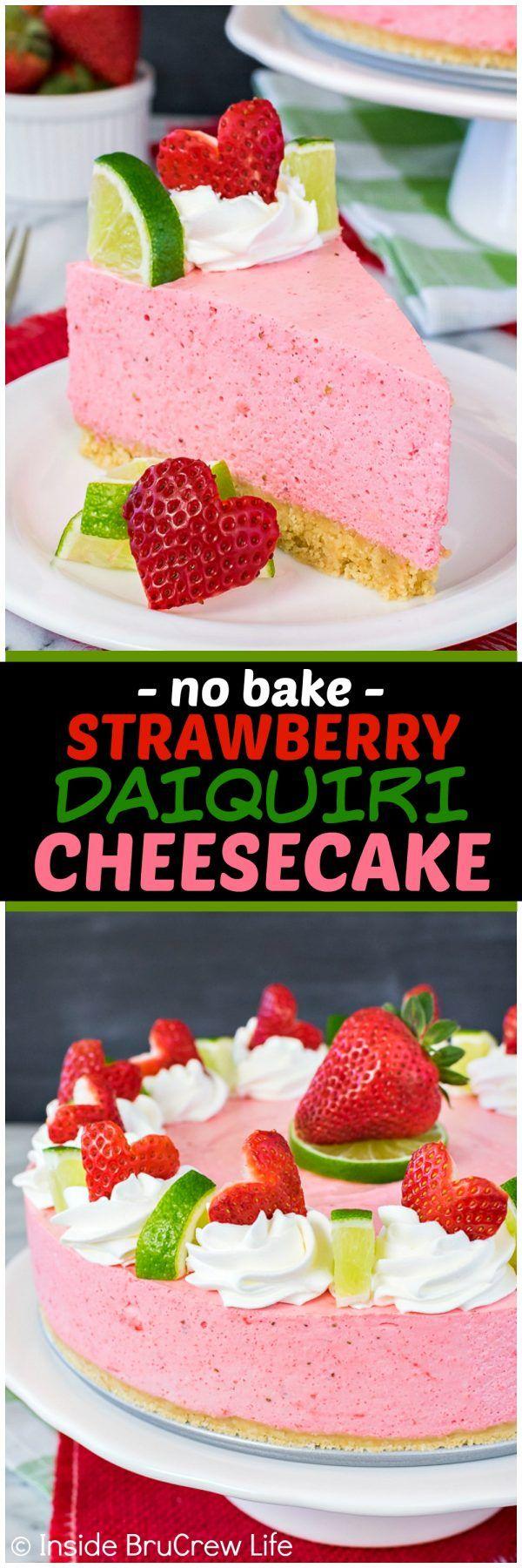 No Bake Strawberry Daiquiri Cheesecake recipe