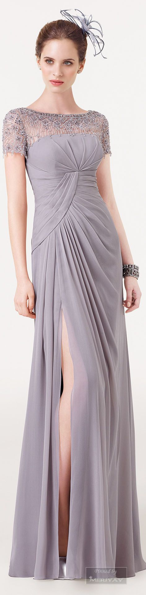 Aire Barcelona.~ Soft Grey Pleated Gown 2015.