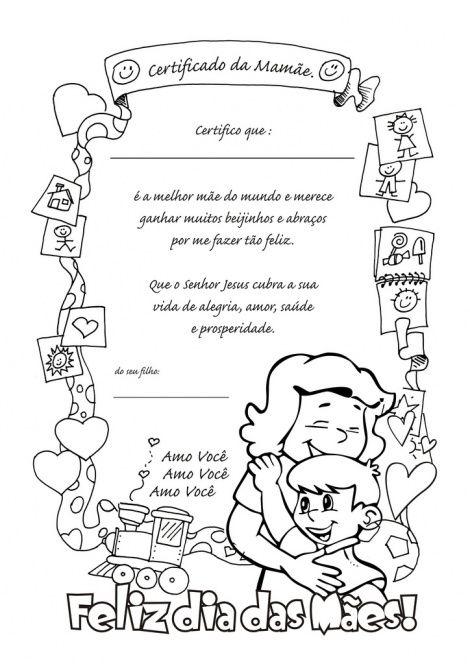 desenho do dia das mães para imprimir | Dia das Mães, desenho para colorir, Certificado da Mamãe
