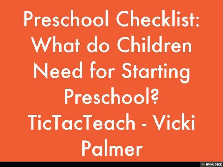 What do children need when starting preschool? www.tictacteach.com