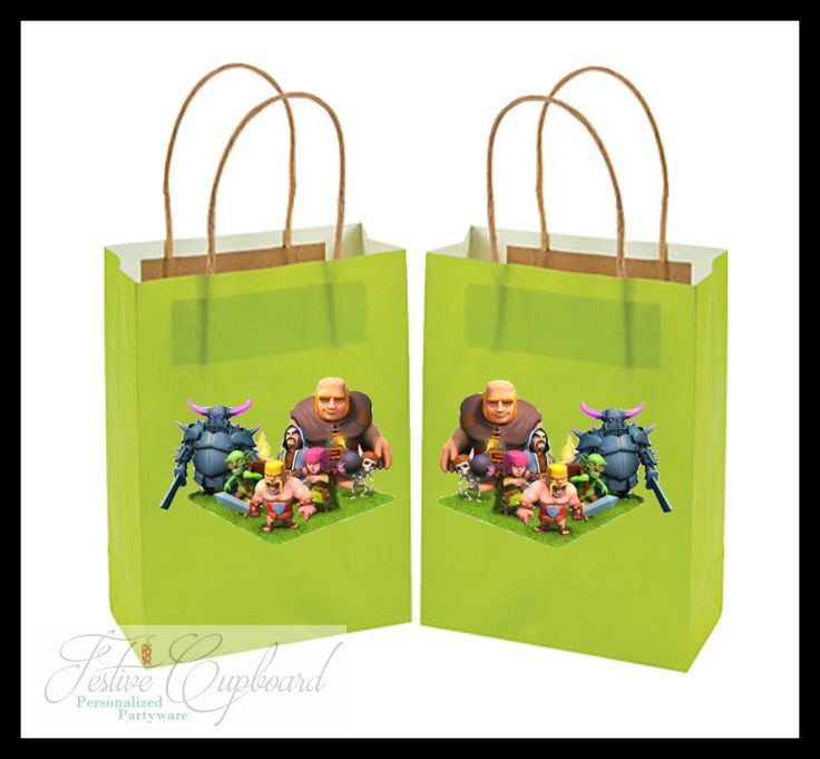 Clash of Clans Birthday Party Supplies Favors- Custom Party Favor Treat Bags (8)