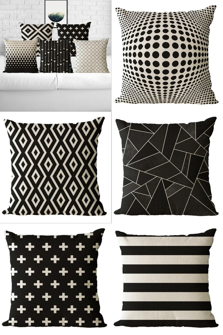 [Visit to Buy] 45X45cm Nordic scandinavian Cushion cover Decoration Pillow covers  Geometric Throw pillowcases black and white Cushion cover #Advertisement