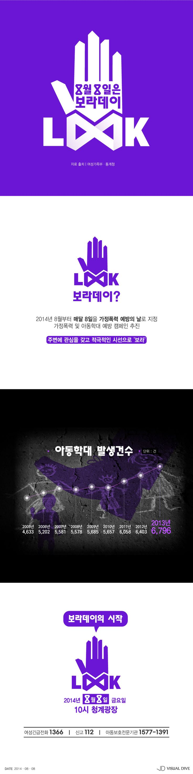 아동학대 예방을 위한 캠페인 8월 8일'보라데이' [인포그래픽] #LOOK AGIAN / #Infographic ⓒ 비주얼다이브 무단 복사·전재·재배포 금지