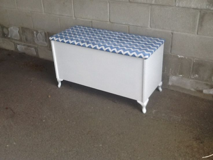 Refurbished storage chest with sliding top tray.