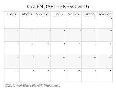 Calendario de celebraciones en Enero 2016: Descarga gratis para uso personal