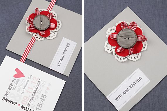 Chrystalace Wedding Stationery Coral and grey invitation with grey envelope and inserts.