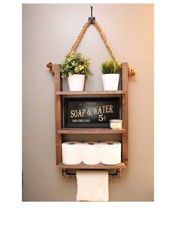 Farmhouse Bathroom Storage Shelf Decor With Industrial Towel Etsy Rope Shelves Shabby Chic Bathroom Bathroom Themes