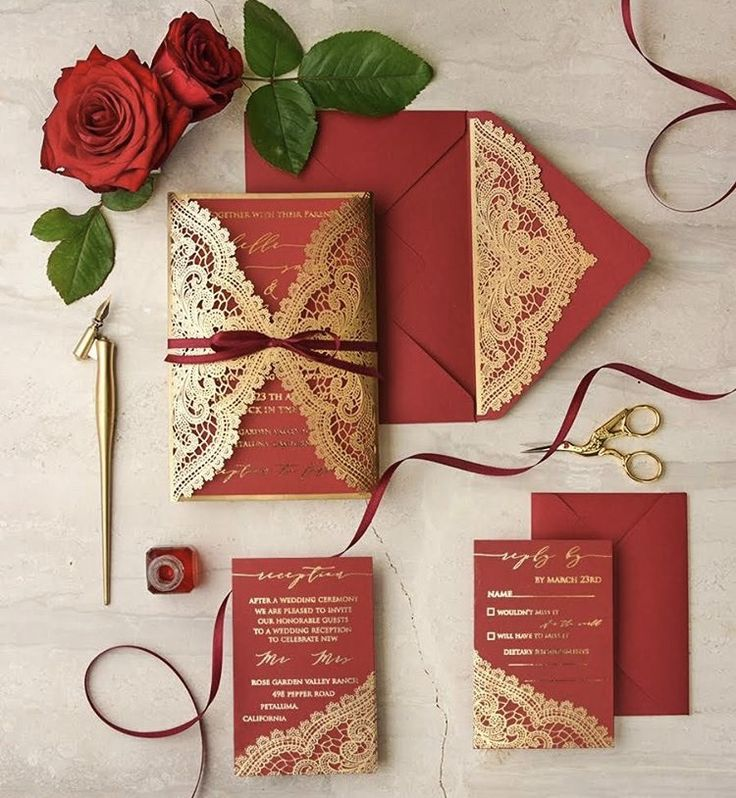 Gold and red laser cut wedding invitations