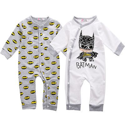 2016 Hot Baby Rompers Newborn Babe Girls Boy Batman Long Sleeve Jumpsuits Cotton Baby Rompers 0-12M