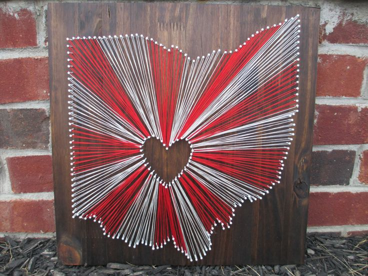 String Art State, Any State, Ohio State Buckeyes, Home is Where the Heart Is, Nail and String Art by AJLyonsDesigns on Etsy