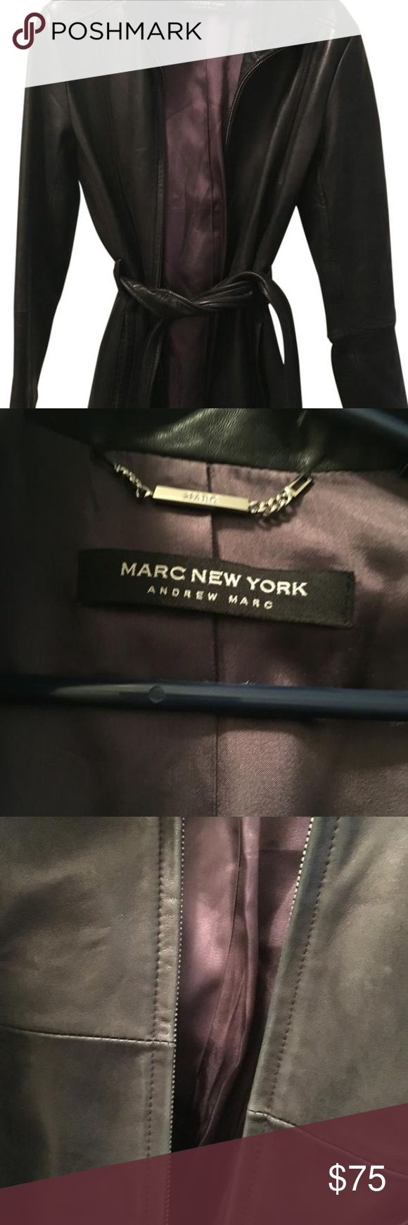 Marc New York Andrew Marc Leather Coat Real leather. No rips from a pet and smoke free home some leather fading/discoloration throughout the jacket. Please note the low price for such a great jacket is because of fading/discolorations throughout- see pictures Can last for many more uses!!!! Great piece! marc new york andrew marc Jackets & Coats