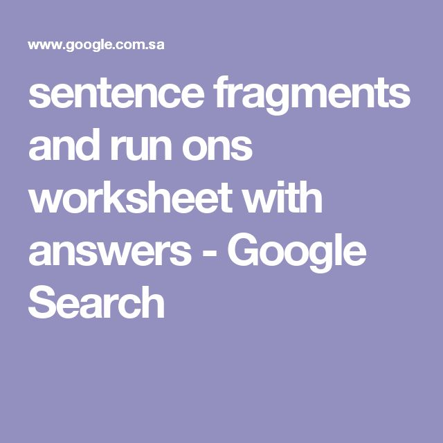 sentence fragments and run ons worksheet with answers ...