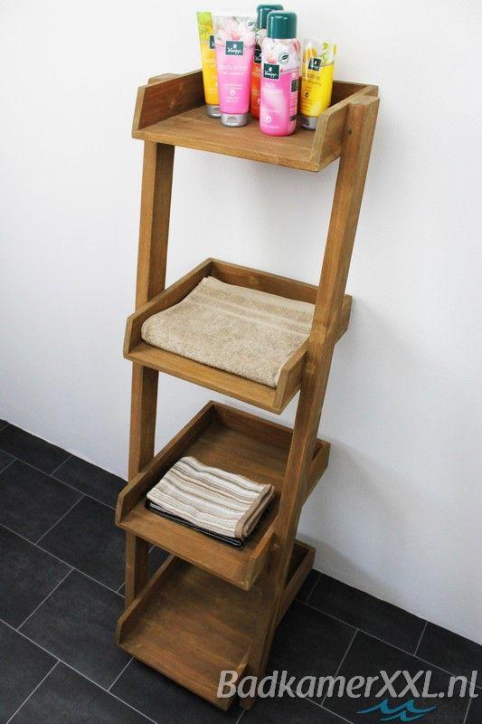 Badkamer decoratie ladder met planken | BadkamerXXL