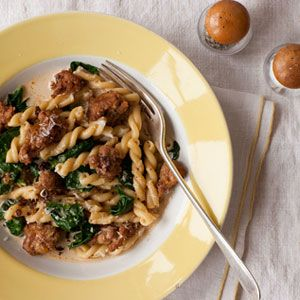 Gemelli pasta and sausage in a creamy, spinach sauce...ready in 15 minutes!