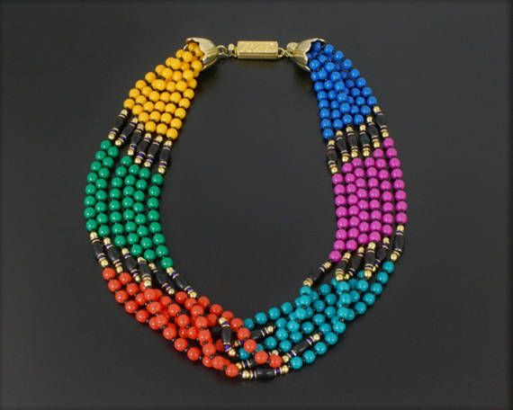 Ellelle Italy Vintage 1980s Multi Strand Bead Choker Necklace