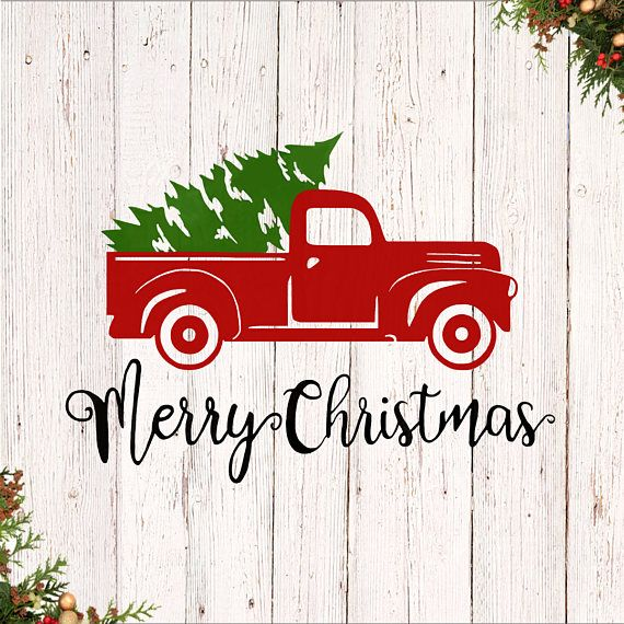 Merry Christmas Decal Christmas Tree Truck Decal Sticker