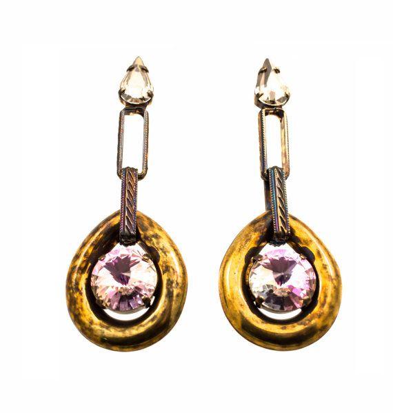 Long, bronze metal plated earrings, by Art Wear Dimitriadis