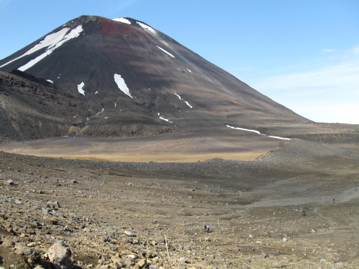 After crossing South Crater, looking back towards the south-west & Mt Ngauruhoe.  In the foreground tiny figures can be seen walking across South Crater