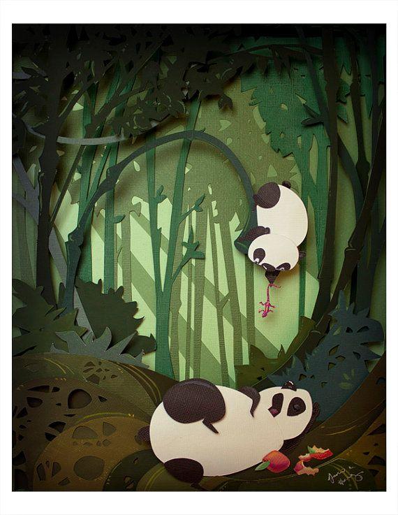 Panda travieso por jackiehuang en Etsy