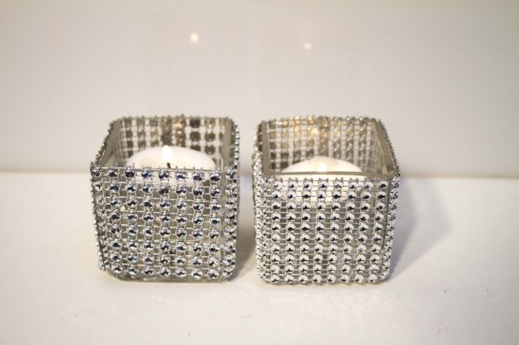 Diamante & glass tealight containers square