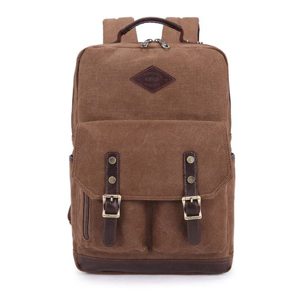 Roll in style with This British Style Casual Backpack, which is made of canvas, comfortable and durable. Suitable on many occasions and great choice for your daily life. - Adjustable shoulder strap fo