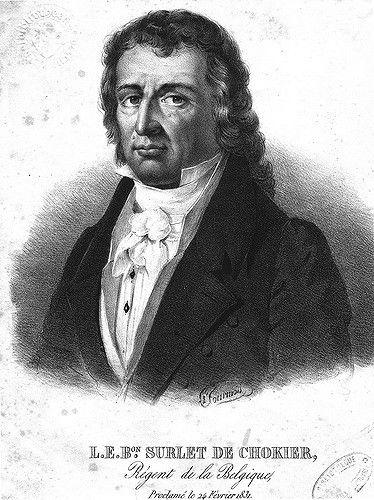 Portret van baron Surlet de Chokier (1769-1839), uitgeroepen als regent van België op 24 februari 1831. Hij bleef dit tot aan de eedaflegging van Koning Leopold I op 21 juli 1831.
