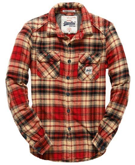 MAPLE RED CHECK Superdry Milled Flannel Shirt: