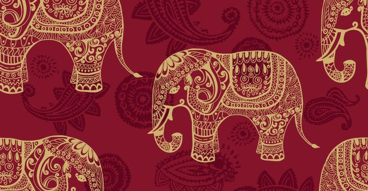 Indian Elephants : Seamless Pattern Wallpaper