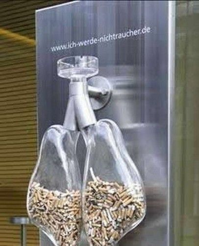 This creative ad is a good example of guerrilla  advertising. It is emphasizing what happens when you smoke. It is trying to discourage it.