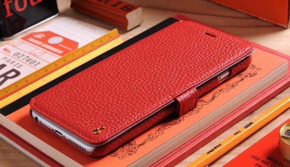 Red Pebble Grain Genuine Leather Book Style by storyleather2015