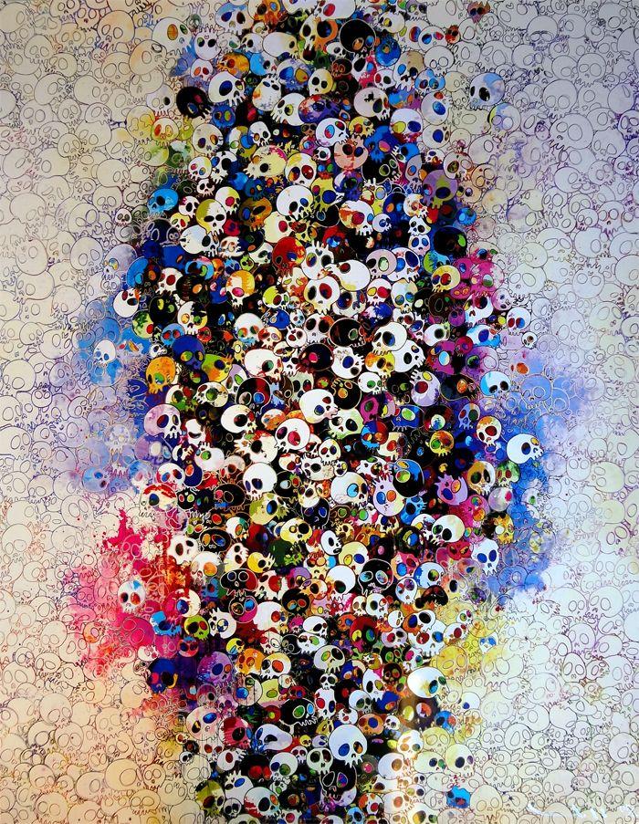 Takashi Murakami Prints for sale - Who's afraid of red, yellow, blue and death  https://www.artetrama.com/en/artworks/takashi-murakami-who-s-afraid-of-red-yellow-blue-and-death  #murakami #takashimurakami #pop #skulls #print #superflat