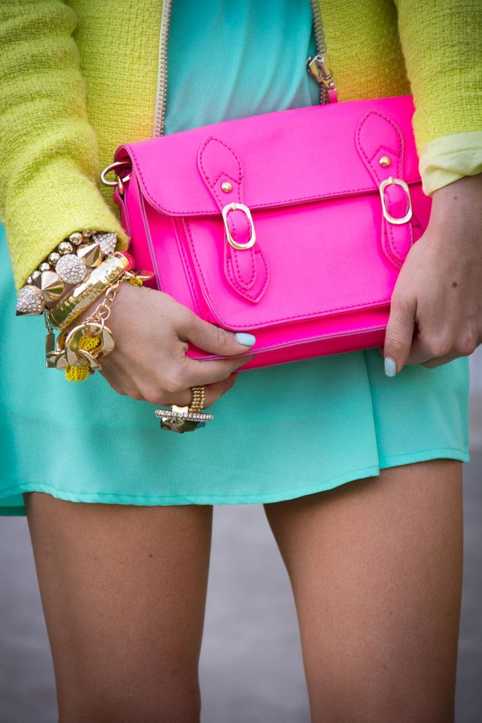 hot pink purse, chartreuse jacket, turquoise dress (wee bit longer for me) <3 these colors!