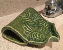 Self Draining Soap Dish- Nice simple design with a little flair - BTR Ceramics on Etsy, $22.