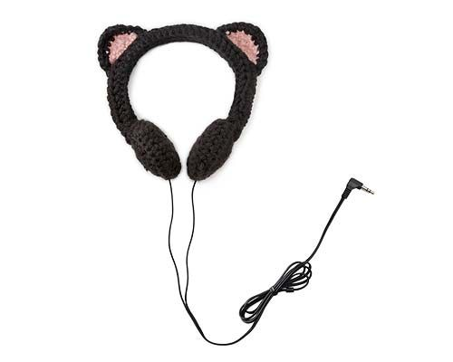 BLACK CAT HEADPHONES | Kitty, Ears, Head Set, Ipod, Music, Crochet |
