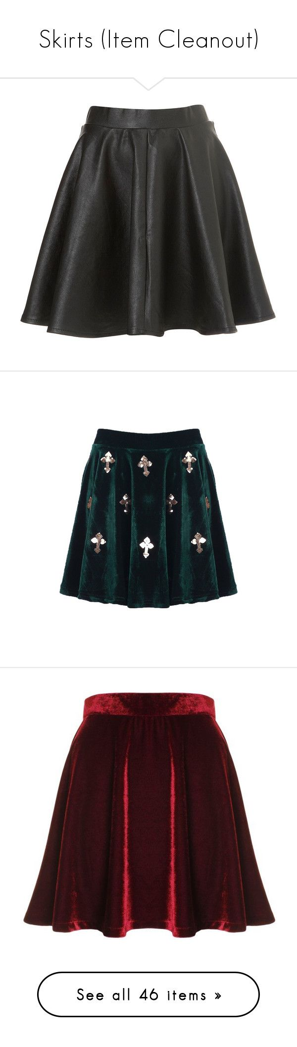 """Skirts (Item Cleanout)"" by tarakline ❤ liked on Polyvore featuring skirts, bottoms, saias, topshop, black, circle skirts, topshop skirts, skater skirts, flared skirts and mini skirts"