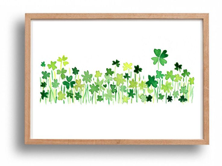 Clover field 2 art Print ,lucky clover, Shamrock, Kelly green, luck of the Irish, modern minimalist art, watercolor, St Patric's day by TheJoyofColor on Etsy https://www.etsy.com/listing/89612525/clover-field-2-art-print-lucky-clover