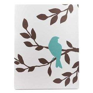 """This brown, teal and white Tree with Bird Silhouette Canvas Art is simplistic in style and color but is sure to be a striking focal point in any room. Wire for hanging is attached to the back.    Dimensions:      Length: 26""""    Width: 20""""    Thickness: 1 1/2"""""""
